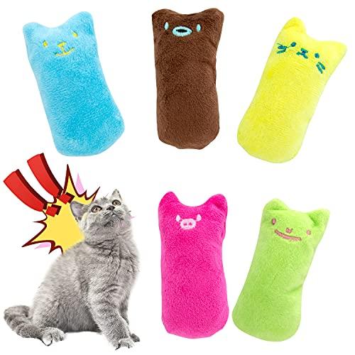 Joeyer Katzenminze Plüsch Spielzeug, 5 Stück Katzenminze Kissen Katzenspielzeug, Natürliches Katze Interaktive Kauen Spielzeug für Katze/Kitty/Kätzche