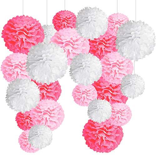 24 Pompones Rosa Decoracion Bautizo Niña, Flores Pompom de Papel de Seda. Decoración Fiesta de Bienvenida de Bebe, Cumpleaños y Boda -24 Piezas-