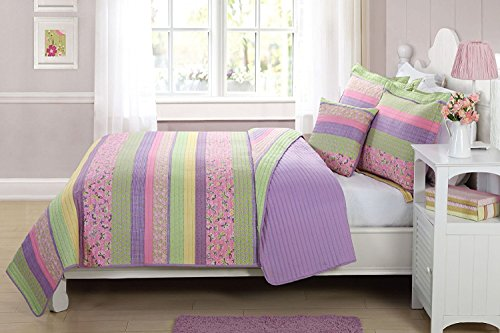 Elegant Home Multicolor Purple Yellow Green Pink Fun Striped With Butterflies Printed Reversible Cozy Colorful 3 Piece Twin Size Quilt Bedspread Set with Decorative Pillow for Kids / Girls (Twin)