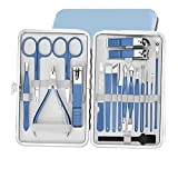 QASUF Kit de pedicura Conjuntos de manicura de Clippers de uñas 18 PCS Kit de Cuidado de uñas Profesional con Herramientas de Cuidado Facial, Herramientas de Aseo de Acero Inoxidable