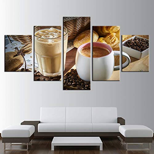 GYSS 5 Panel Leinwand Hd Drucke Bilder Wohnkultur Restaurant 5 Stücke Dampfende Kaffeetasse Kaffeebohne Gemälde KücheRahmen