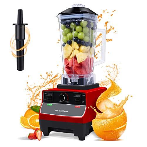 Dansding Blender Smoothie Machine, 2200W High Power Blender, 2L BPA-Free Tritan Large Capacity Commercial Blender, 33,000 RPM High Speed 6 Blades,red