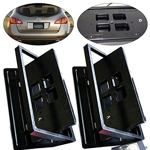 RanBB Electric License Plate Frame Flipper, 2pcs Electric Remote Retractable Hidden Flip Fins Invisible for USA Car