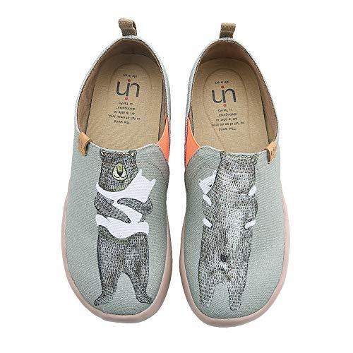UIN Women's Bear's Hug Travel Canvas Slip-on Shoe Grayish-Green (8)