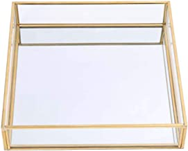 Sooyee Gold Tray Mirror,Square Mirror Tray can Hold Jewelry,Perfume,Makeup,Breakfast,Tea,Food,Magazine and More, Decorativ...