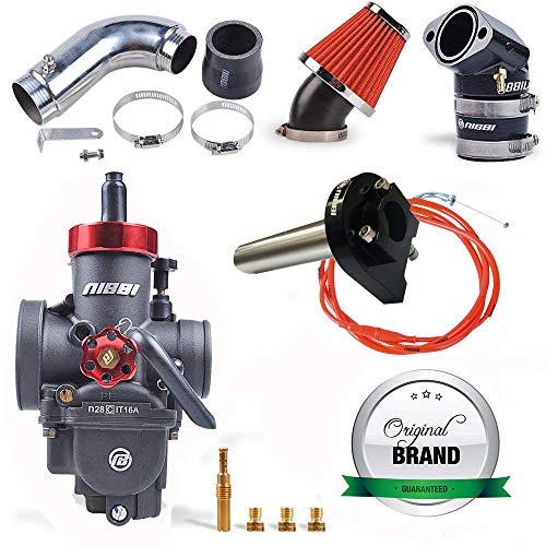NIBBI RACING PARTS Replacement Orginal High Performance Speed Modified Carburetor Kit PE28MM GY6 Curved Pipe Throttle Line Handlebar 48MM Air Filter Fit GY6 Engine Scooter 150CC-250CC