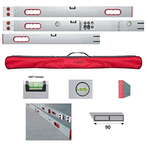 DEWEPRO® Alu Richtlatte - Setzlatte - Abziehlatte steckbar (verlängerbar) bis 400 / 4m - 3 Teile mit 5 Libellen - 4 Handgriffe inkl. Transporttasche