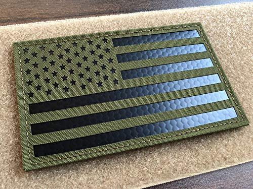 5x3 inch Large OD Green Infrared IR US USA American Flag Patch Tactical Vest Patch Hook-Fastener Backing (5' Width x 3' Height) (OD Green)