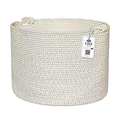 "CIGI Extra Large Toy Storage Baskets for Kids – White and Gold - Nautical Nursery Rope Basket - 20"" x 20"" x 15"" – Jute Laundry Basket for Baby Toys, Towels, Linen or Laundry"