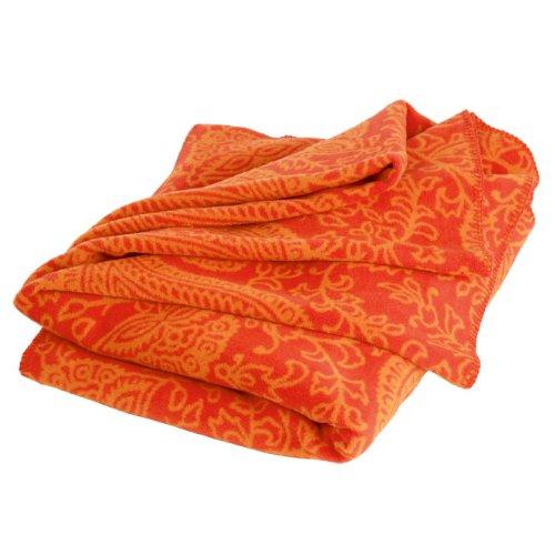 Paisley Kuscheldecke, orange, 150 x 200 cm, 60prozent Baumwolle, Yoga-Decke für Shavasana, Sofadecke, Überwurf, Tagesdecke