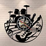 Kit de guitarra y batería Reloj de pared Guitarra Reproductor de música Disco de vinilo Rock Instrumento de música de rock guitarra Arte de pared Rock n Rock Regalo