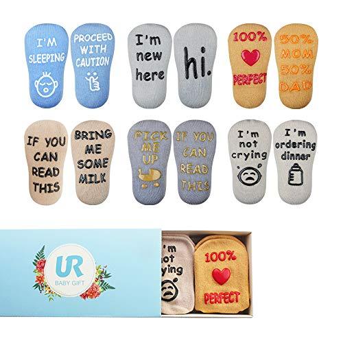 UROOM Baby Socks Gift Set 6 Pack Anti Slip Crew Socks with Grips for Baby Newborn Boys Girls Shower Gifts Christmas Gift, 3-12 Months