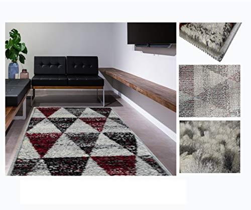 Alfombra de Salón Frise Pelo Largo Tupido Triangulos Geometricos Modernos Color (Granate, 160_x_230_cm)