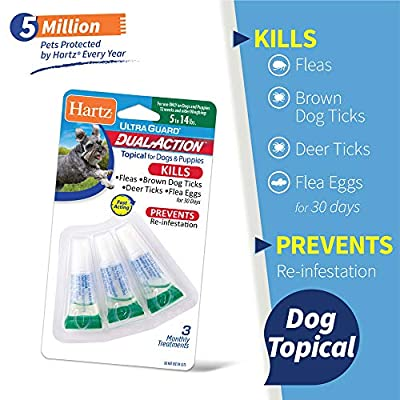 Hartz UltraGuard Dual Action Topical Flea & Tick Prevention for Dogs and Puppies - 5-14 lbs, 3 Monthly Treatments by Hartz