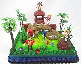 Sonic the Hedgehog Deluxe Birthday Cake Topper Set Featuring Sonic and Friends Characters and Decorative Accessories