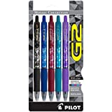 PILOT G2 Mosaic Collection Refillable & Retractable Rolling Ball Gel Pens, Fine Point, Assorted Grip/Ink Colors, 5-Pack (31676)