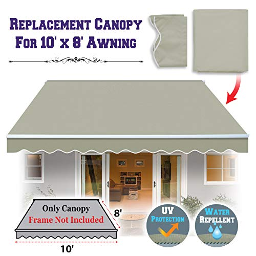 BenefitUSA Canopy ONLY 10' X 8' Outdoor Manual Yard Retractable Patio Sun Shade Awning Canopy (Grey)