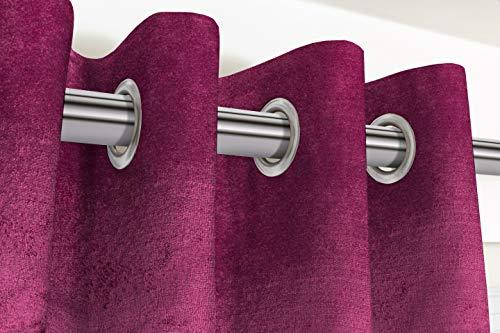 McAlister Textiles Cortinas de terciopelo brillante, 2 paneles, color rosa fucsia, diseño suave, hechas a pedido, cortinas y cortinas, con ojales de algodón, ancho 116 cm x 137 cm