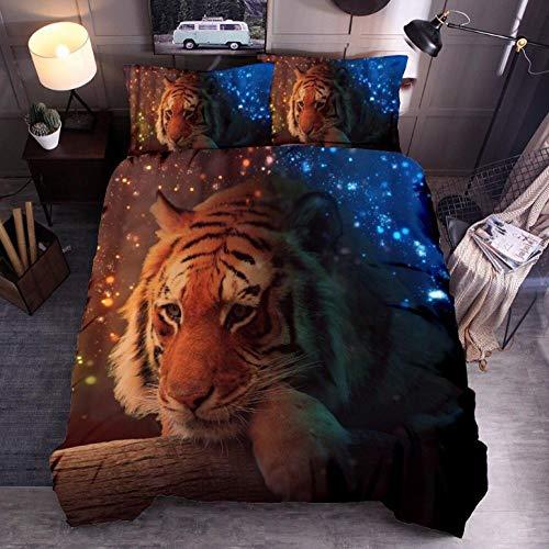 Biancheria da letto matrimoniale 200 x 200cm,Tiger e Galaxy set copripiumino,microfibra stampato 3D ipoallergenica 1 copripiumino con chiusura lampo + 2 federe 50 x 75 cm