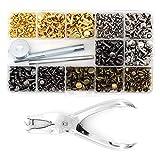 Tachuelas tubulares de metal con doble tapa y juego de herramientas de fijación para remaches de...