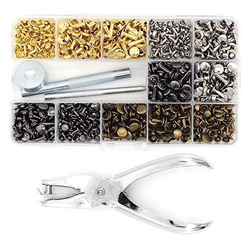 Tachuelas tubulares de metal con doble tapa y juego de herramientas de fijación para remaches de cuero, reparación de reparación y decoración, 360 juegos