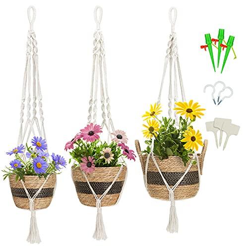 GREENSTELL Blumenampeln zum Aufhängen, Makramee Hängeblumentöpfe mit 3 Haken, 3 Sets Blumenampel mit Topf, handgewebte Pflanzenampel mit wasserdichtem Kunststofffutter für Balkon Aussen Schwarz