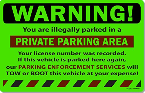 "50 Green Fluorescent Warning Private Parking Area! Violation No Parking Towing Car Auto Sign Stickers 8"" X 5"""