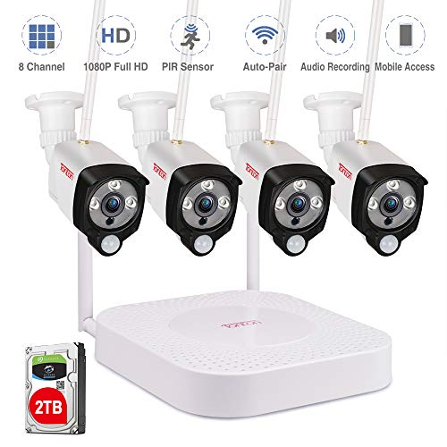 Cheap [Audio Recording] Tonton 1080P Full HD Security Camera System Wireless,8CH NVR Recorder with 2...