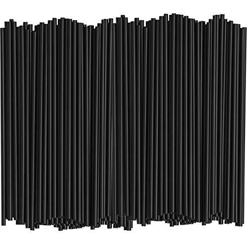 [1000 Bulk Pack] 5 Inch Plastic Sip Stirrers/Straws - Disposable Stir Sticks for Coffee & Cocktail - Black