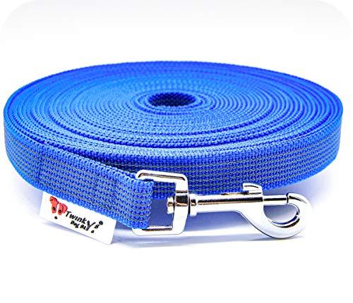 Twinkys Dog Style Made IN Germany Schleppleine Hundeleine gummiert 20 mm breit für Hunde bis 50 kg - OHNE Handschlaufe 3 Meter Blau