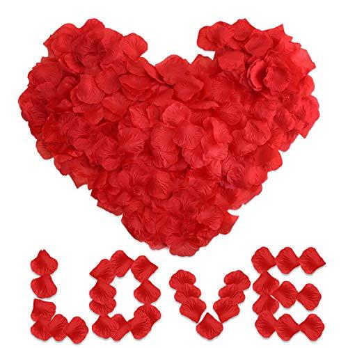 E-Bestar 6000 Pezzi di Petali di rosa, Fiori di Rosa Rossa in Seta Artificiale per Matrimoni, San Valentino, Decorazioni per Feste di Compleanno fai da te