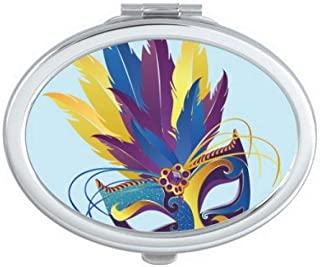 DIYthinker Blue Feather Mask Happy Carnival Of Venice Oval Compact Makeup Mirror Portable Cute Hand Pocket Mirrors Multicolor