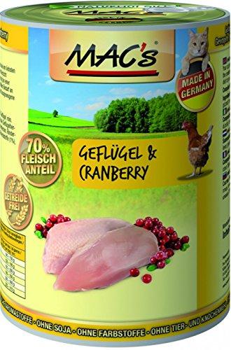 Mac\'s Katzenfutter getreidefrei Geflügel & Cranberry, 400 g, pack of 6