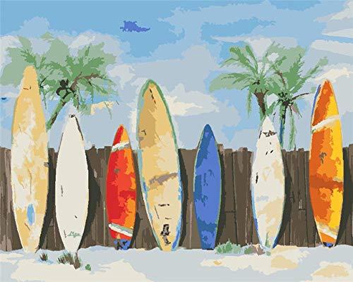 FGCV Pintar por Números para Adultos,Cuadro De Tabla De Surf Pinturas De Bricolaje por Kits De Números Pinturas con Pinceles Y Pigmento Acrílico para Arte De Pared Decoración del Hogar Decoración, M