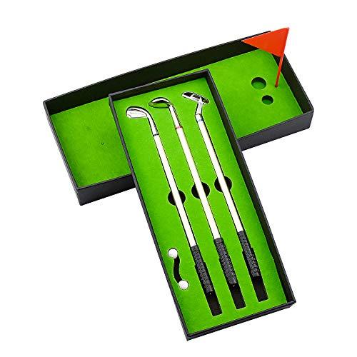 Demason Golf Stifte, Golfschläger Kugelschreiber Mini-Golfbälle Mini Desktop Golfball Stift Geschenk Golfstifte Set 19,6x0,7cm