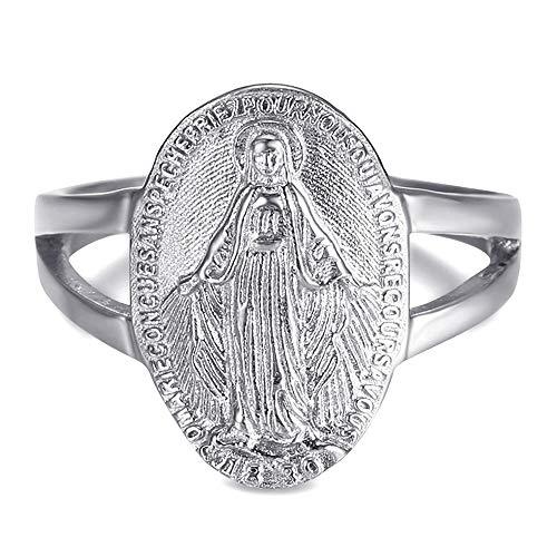 BOBIJOO JEWELRY - Anillo Anillo Anillo de la Virgen María de la Medalla Milagrosa de 1830 316L de Acero Inoxidable de Plata - 12 (6 US), Acero Inoxidable 316