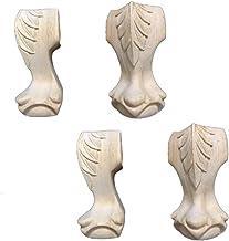 RZM - Set di 4 gambe in legno massello intagliato di ricambio per divano, letto, armadio, divano, sedia, colore: A, dimens...