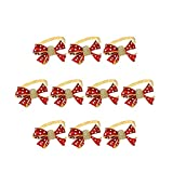 SODIAL 10 Piezas/Lote Hebilla de Servilleta Roja con Lazo NavideeO Soporte de Anillo de Anillo de Servilleta de Diamantes DecoracióN de Mesa de Fiesta NavideeA