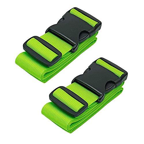 TSA Schloß Gepäckgurt Kofferband rutschfest Reise Luggage Straps, Kreuz-Koffergurt mit TSA-zertifiziertem Zahlenschloss (2Pack-Green)