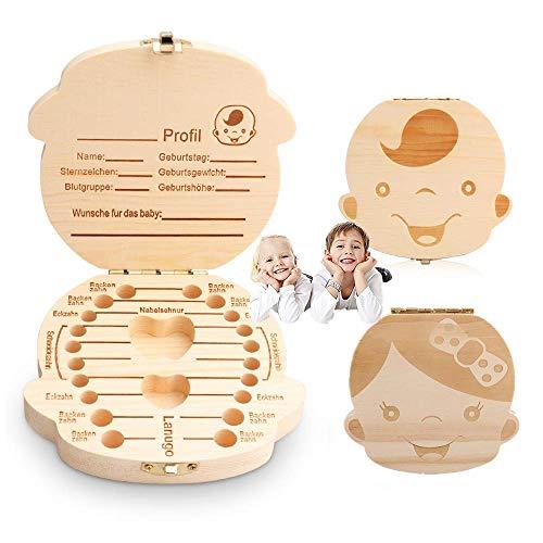 TIMSOPHIA melktanddoos, melktanden box tandfeebrief opslag Duits Engels Japanse versie houten doos DEUTSCH meisjes
