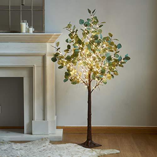 Hairui beleuchtete Eukalyptusbaum Plug-in 4FT 160 warmweiße LEDs Künstliches Grünpflanzen mit Lichtern für die Hochzeit Holiday Home Party Dekoration