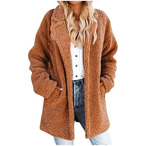 KaloryWee 2020 Herbst Winter Mode Damen Plüschjacke Teddy Kaschmir Mittlere Länge Warmer Plüsch Strickjacke