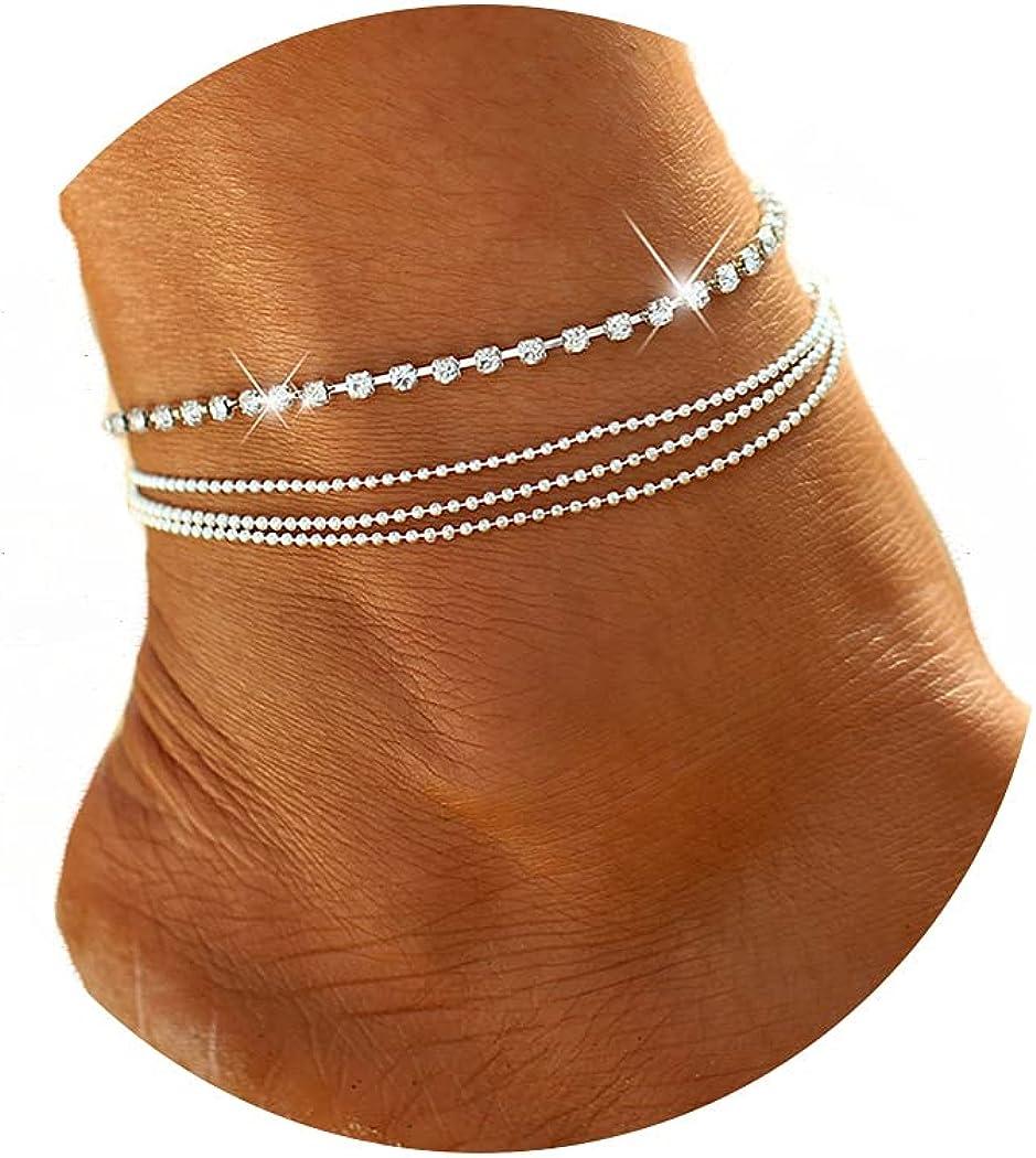 Jeweky Time sale Boho Layered Max 65% OFF Crystal Anklets Silver Brac Rhinestone Ankle