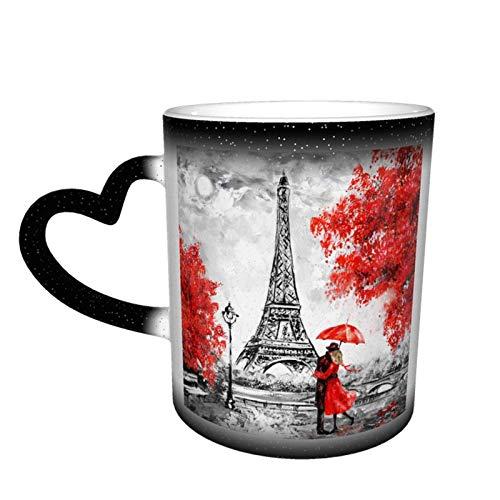 maichengxuan Taza de café unisex de viaje pintura al óleo de París Ciudad Europea personalizada calor sensible color cambiante taza de té de leche tazas de café mágico