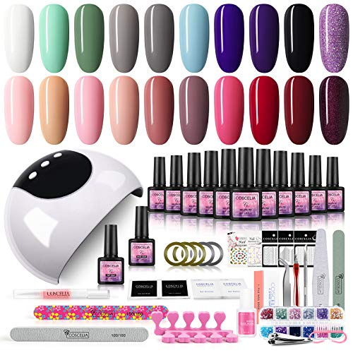 Coscelia Kit Uñas de Gel 20pcs Esmalte Semipermanente Soak off 8ml Lámpara 24W LED/UV Uñas para Manicura Pedicura con 3 Temporizadores Base Top Gel Manicura Pedicura