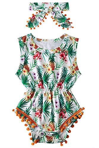 Body de bebé Patrón de piña Floral de Verano con diseño de Borla Traje de Mameluco de Cuello Redondo Mono sin Mangas Diadema 2 Piezas Set de 3-6 Meses