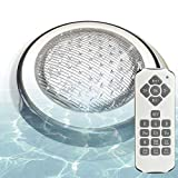 With Memory and Synchronous Function, Aliyeah 12V AC/DC 36W Wall Mounted Color Changing LED Pool Light, IP68 Submersible for Concrete Pool, Comes with 7 FT Power Cord