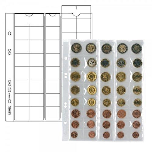 LINDNER Das Original Multi Collect Münzblätter für 5 Euro-Kursmünzensätze mit je 8 Münzen, Zwischenblätter schwarz, 5er-Packung