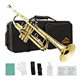 Eastrock Gold Trumpet Brass Standard Bb Trumpet Set for Student Beginner with Hard Case, Gloves, 7C Mouthpiece and Trumpet Cleaning Kit(Lacquer Gold)
