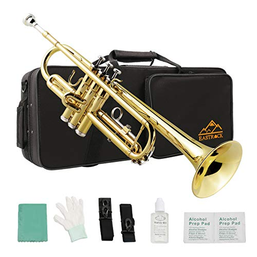 Eastrock Gold Standard Brass Bb Trumpet for Student Beginner Brass Instrument with Hard Case, Gloves, 7C Mouthpiece, Valve Oil and Trumpet Cleaning Kit